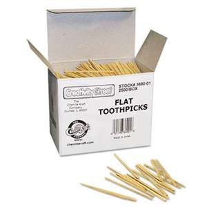 THE CHENILLE KRAFT COMPANY Flat Wood Toothpicks, Wood, Natural, 2500/Pack