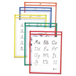 C-LINE PRODUCTS, INC Reusable Dry Erase Pockets, 9 x 12, Assorted Primary Colors, 25/Box