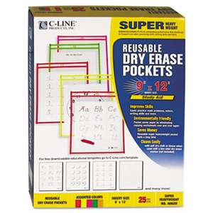 C-LINE PRODUCTS, INC Reusable Dry Erase Pockets, 9 x 12, Assorted Neon Colors, 25/Box