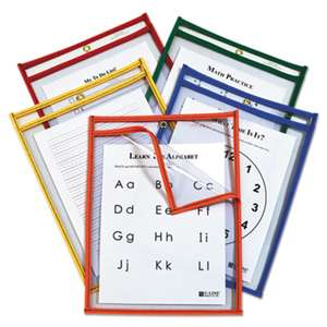 C-LINE PRODUCTS, INC Reusable Dry Erase Pockets, Easy Load, 9 x 12, Assorted Primary Colors, 25/Pack