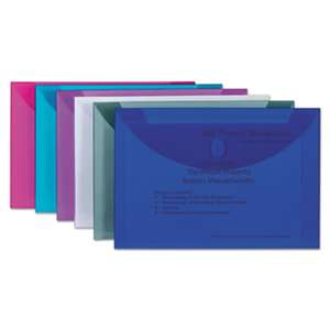 C-LINE PRODUCTS, INC Reusable Poly Envelope, Hook and Loop Closure, 9 1/2 x 13, Assorted