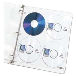 C-LINE PRODUCTS, INC Deluxe CD Ring Binder Storage Pages, Standard, Stores 8 CDs, 5/PK