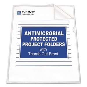 C-LINE PRODUCTS, INC Antimicrobial Project Folders, Jacket, Letter, Polypropylene, Clear, 25/Box