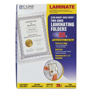 "C-LINE PRODUCTS, INC Quick Cover Laminating Pockets, 12 mil, 9 1/8"" x 11 1/2"", 25/Pack"