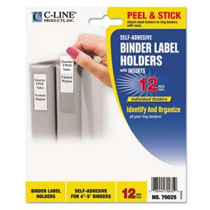 C-LINE PRODUCTS, INC Self-Adhesive Ring Binder Label Holders, Top Load, 1-3/4 x 3-1/4, Clear, 12/Pack