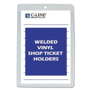 "C-LINE PRODUCTS, INC Clear Vinyl Shop Ticket Holder, Both Sides Clear, 25"", 5 x 8, 50/BX"