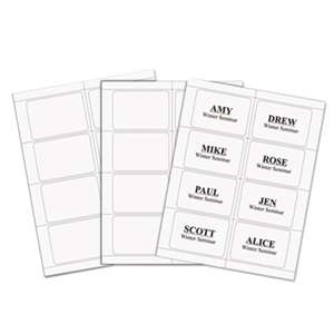 C-LINE PRODUCTS, INC Laser Printer Name Badges, 3 3/8 x 2 1/3, White, 200/Box