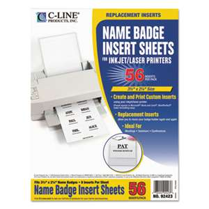 C-LINE PRODUCTS, INC Name Badge Inserts, 3 1/2 x 2 1/4, White, 56/Pack
