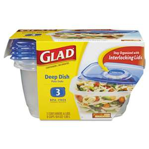 CLOROX SALES CO. GladWare Deep Dish Food Storage Containers, 64 oz, 3/Pack