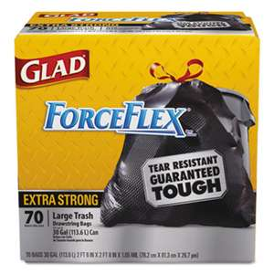 CLOROX SALES CO. Drawstring ForceFlex Large Trash Bags, 30 x 32, 30gal, 1.05mil, Black, 70/Carton