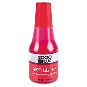 CONSOLIDATED STAMP Self-Inking Refill Ink, Red, 0.9 oz. Bottle