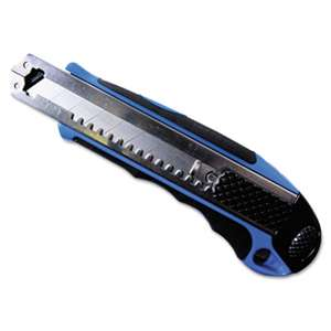 CONSOLIDATED STAMP Heavy-Duty Snap Blade Utility Knife, Four 8-Point Blades, Retractable, Blue