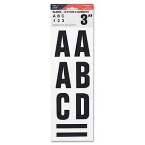 "CONSOLIDATED STAMP Letters, Numbers & Symbols, Adhesive, 3"", Black"