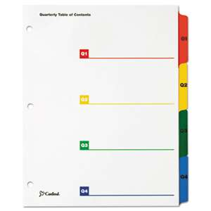 CARDINAL BRANDS INC. OneStep Printable Table of Contents/Dividers, Quarterly, 11 x 8 1/2, Multicolor