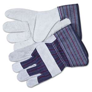 MCR SAFETY Split Leather Palm Gloves, Large, Gray, Pair