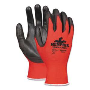 MCR SAFETY Touch Screen Nylon/Polyurethane Gloves, Black/Red, Large