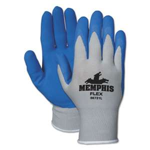MCR SAFETY Memphis Flex Seamless Nylon Knit Gloves, Medium, Blue/Gray, Pair