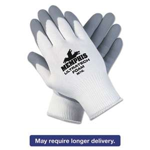 MCR SAFETY Ultra Tech Foam Seamless Nylon Knit Gloves, Medium, White/Gray, 12 Pair/Dozen