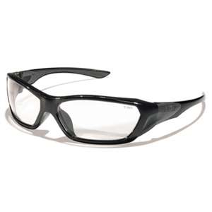 MCR SAFETY ForceFlex Safety Glasses, Black Frame, Clear Lens