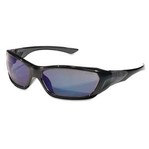 MCR SAFETY ForceFlex Safety Glasses, Black Frame, Blue Lens