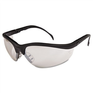Crews KD119 Klondike Safety Glasses, Black Matte Frame, Clear Mirror Lens