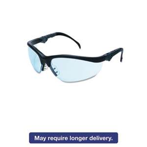 MCR SAFETY Klondike Plus Safety Glasses, Black Frame, Light Blue Lens
