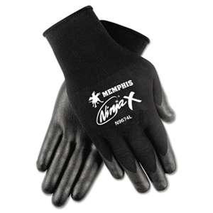 MCR SAFETY Ninja x Bi-Polymer Coated Gloves, Large, Black, Pair