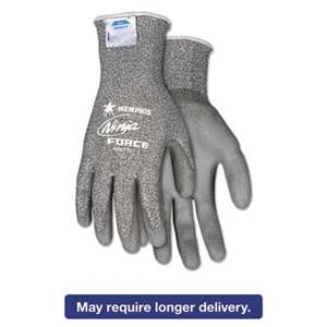 MCR SAFETY Ninja Force Polyurethane Coated Gloves, Small, Gray, Pair