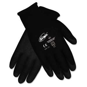 MCR SAFETY Ninja HPT PVC coated Nylon Gloves, Large, Black, Pair