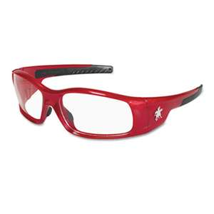 MCR SAFETY Swagger Safety Glasses, Red Frame, Clear Lens