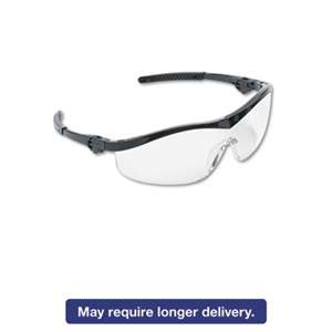 MCR SAFETY Storm Wraparound Safety Glasses, Black Nylon Frame, Clear Lens, 12/Box