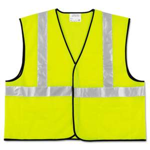 MCR SAFETY Class 2 Safety Vest, Fluorescent Lime w/Silver Stripe, Polyester, X-Large