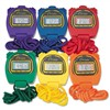 CHAMPION SPORT Water-Resistant Stopwatches, 1/100 Second, Assorted Colors, 6/Set