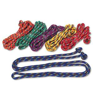 CHAMPION SPORT Braided Nylon Jump Ropes, 8ft, 6 Assorted-Color Jump Ropes/Set