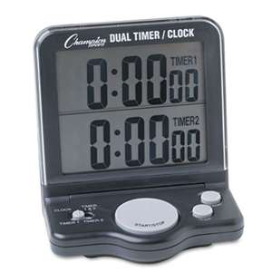 CHAMPION SPORT Dual Timer/Clock w/Jumbo Display, LCD, 3 1/2 x 1 x 4 1/2