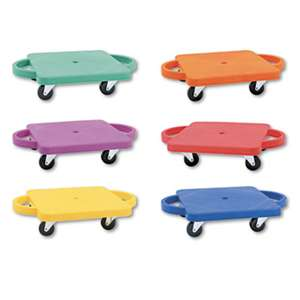 CHAMPION SPORT Scooter Set wSwivel Casters, Plastic/Rubber, 12 x 12, Assorted Colors, 6/Set