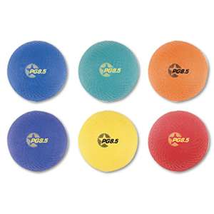 CHAMPION SPORT Playground Ball Set, Nylon, Assorted Colors, 6/Set