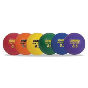 "CHAMPION SPORT Rhino Playground Ball Set, 8 1/2"" Diameter, Rubber, Assorted, 6 Balls/Set"