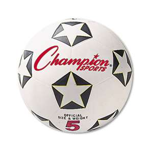 CHAMPION SPORT Rubber Sports Ball, For Soccer, No. 5, White/Black