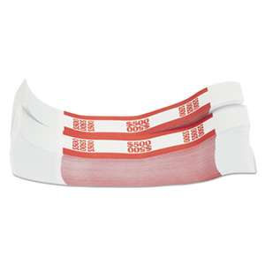 MMF INDUSTRIES Currency Straps, Red, $500 in $5 Bills, 1000 Bands/Pack