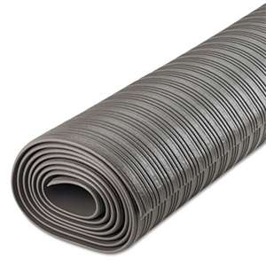 CROWN MATS & MATTING Ribbed Anti-Fatigue Mat, Vinyl, 36 x 120, Gray