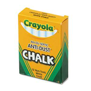 BINNEY & SMITH / CRAYOLA Nontoxic Anti-Dust Chalk, White, 12 Sticks/Box