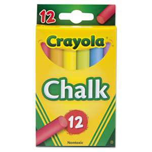 BINNEY & SMITH / CRAYOLA Chalk, Two Each of Six Assorted Colors, 12 Sticks/Box