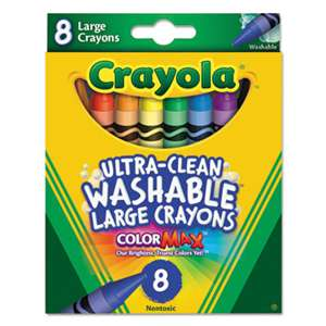 BINNEY & SMITH / CRAYOLA Ultra-Clean Washable Crayons, Large, 8 Colors/Box