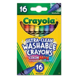 BINNEY & SMITH / CRAYOLA Ultra-Clean Washable Crayons, Regular, 8 Colors, 16/Box