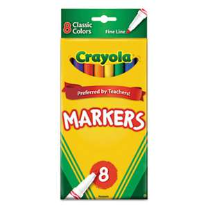 BINNEY & SMITH / CRAYOLA Non-Washable Markers, Fine Point, Classic Colors, 8/Set
