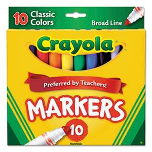 BINNEY & SMITH / CRAYOLA Non-Washable Markers, Broad Point, Classic Colors, 10/Set