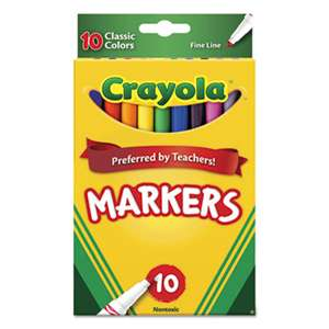 BINNEY & SMITH / CRAYOLA Non-Washable Markers, Fine Point, Classic Colors, 10/Set