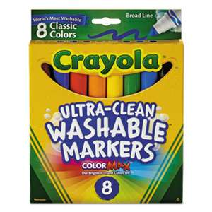 BINNEY & SMITH / CRAYOLA Washable Markers, Broad Point, Classic Colors, 8/Pack