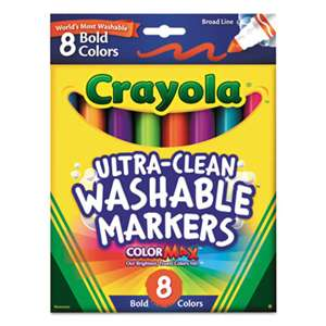 BINNEY & SMITH / CRAYOLA Washable Markers, Broad Point, Bold Colors, 8/Set